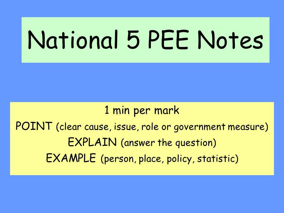 National 5 PEE Notes 1 min per mark