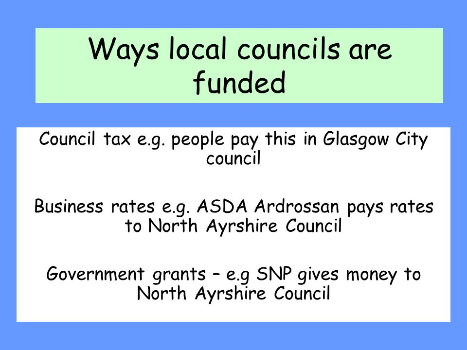 Ways local councils are funded