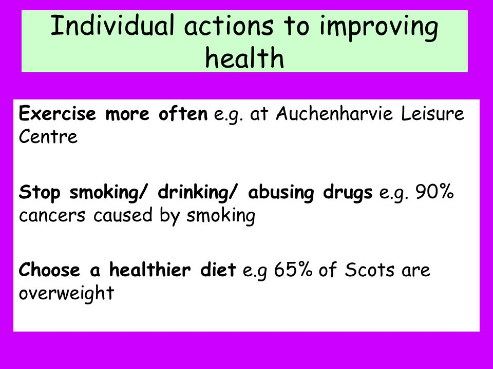 Individual actions to improving health