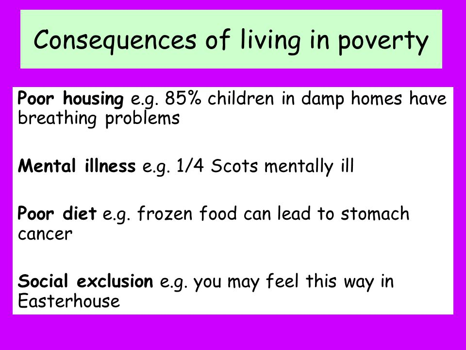 Consequences of living in poverty