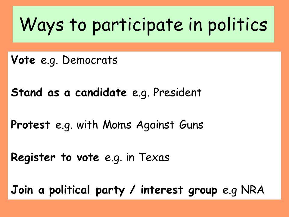 Ways to participate in politics