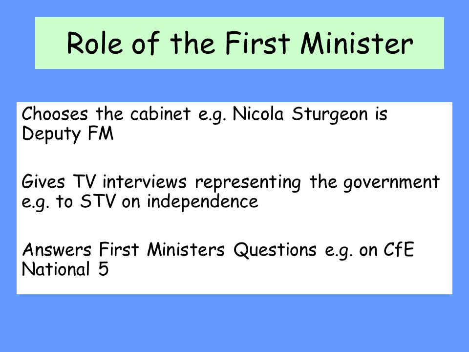 Role of the First Minister