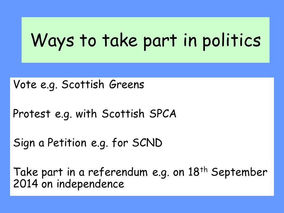 Ways to take part in politics