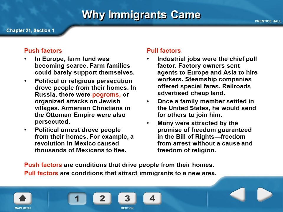 Why Immigrants Came Push factors