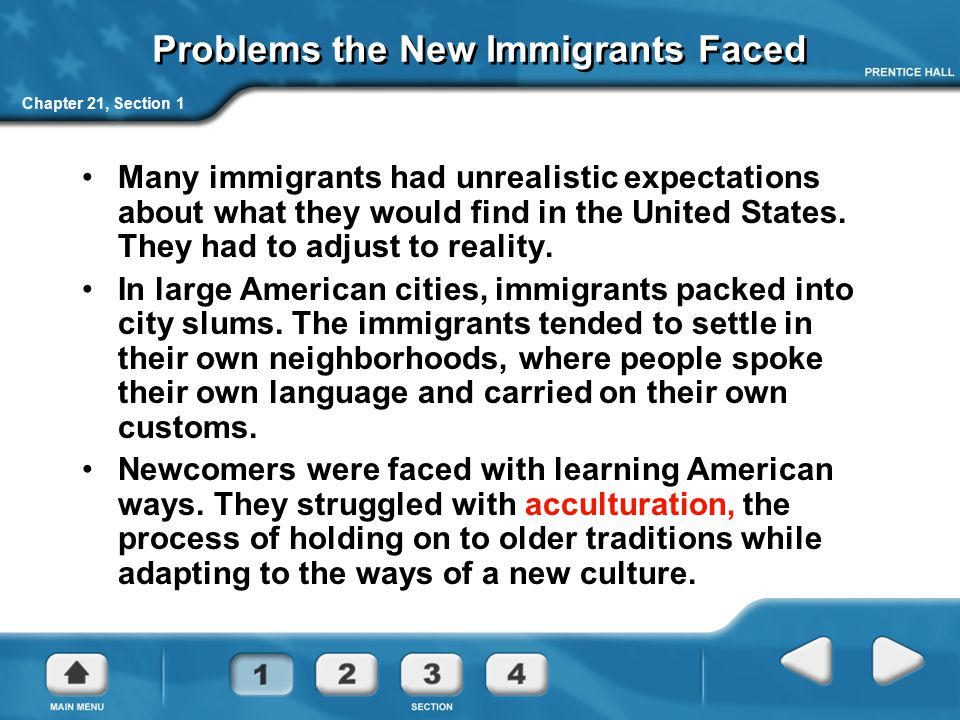 Problems the New Immigrants Faced