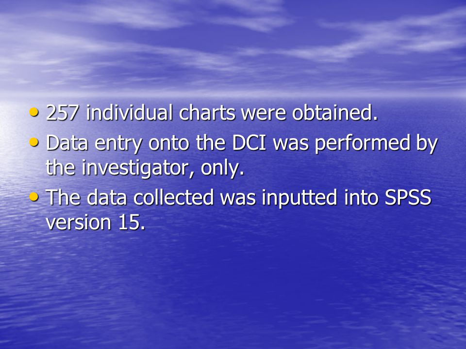 257 individual charts were obtained.