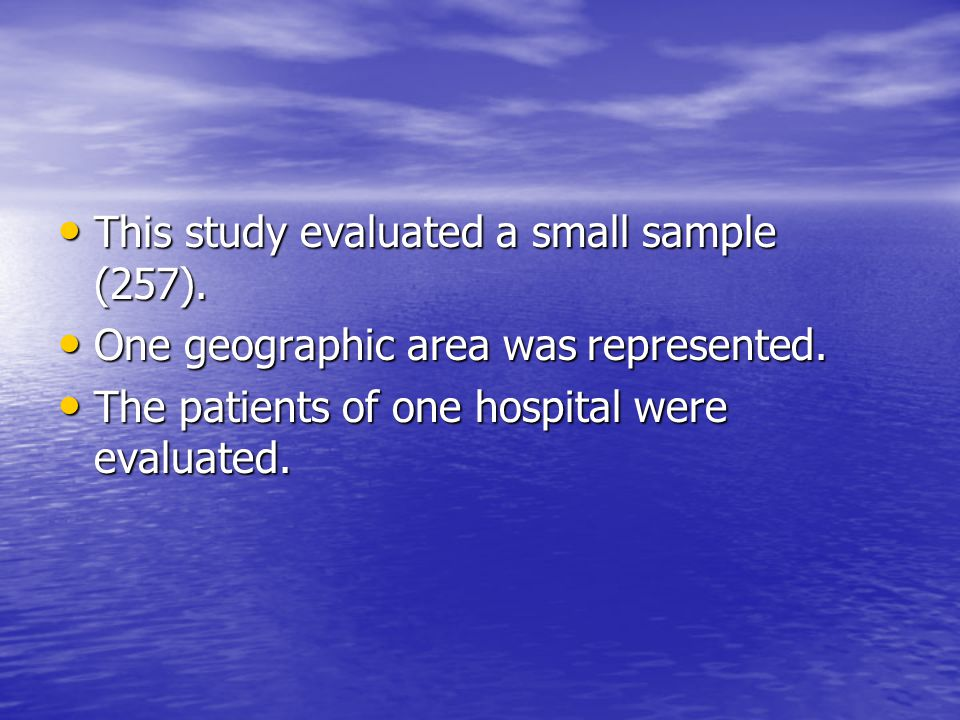 This study evaluated a small sample (257).