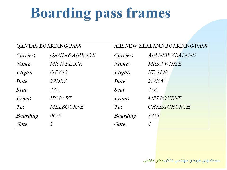 Boarding pass frames سيستمهاي خبره و مهندسي دانش-دكتر كاهاني