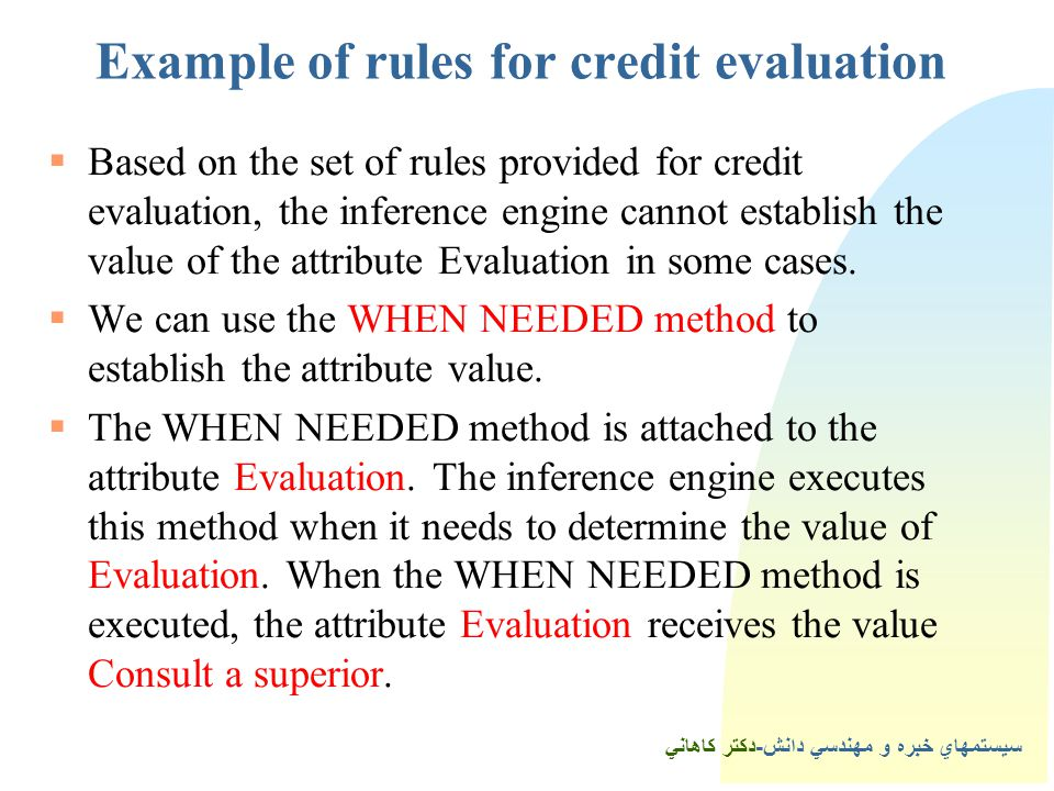 3Example of rules for credit evaluation