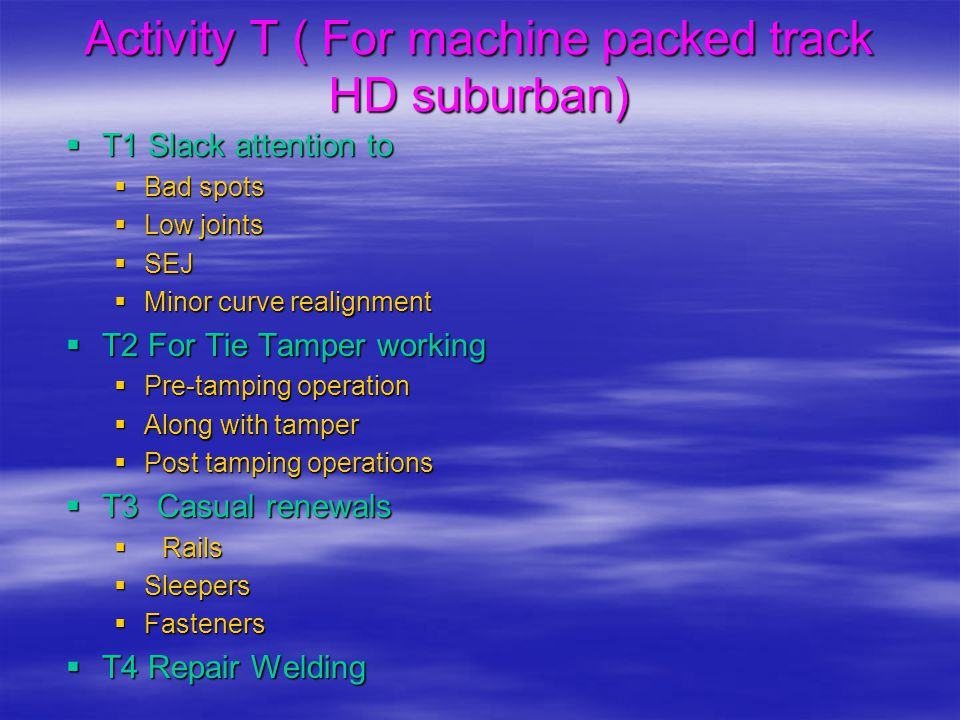 Activity T ( For machine packed track HD suburban)