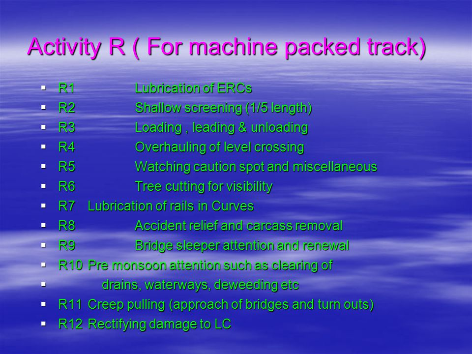 Activity R ( For machine packed track)