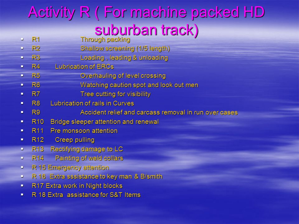 Activity R ( For machine packed HD suburban track)