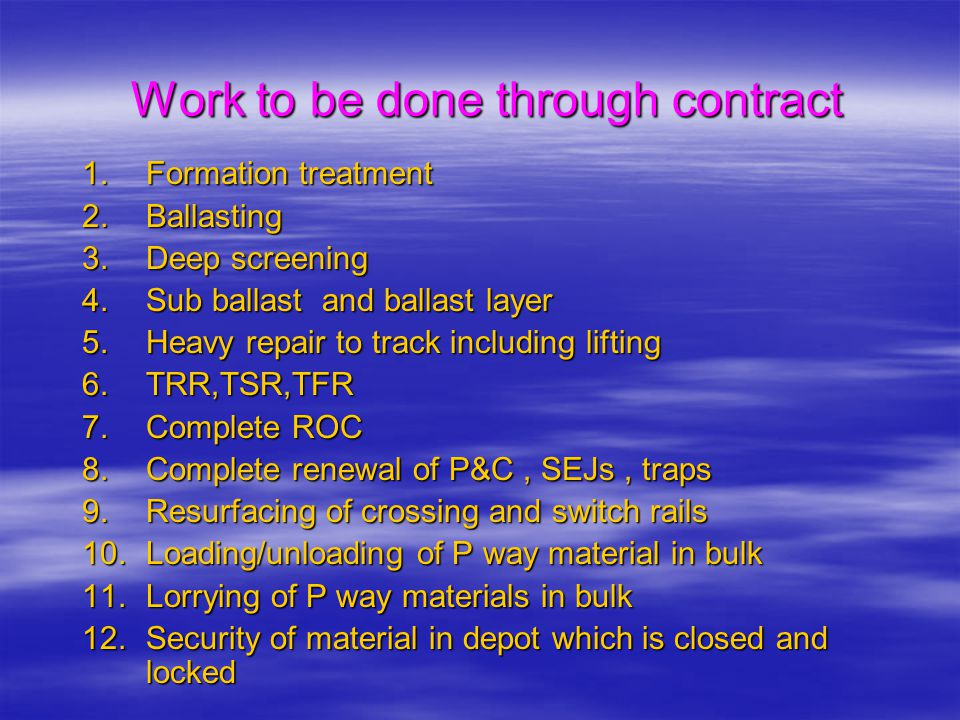 Work to be done through contract