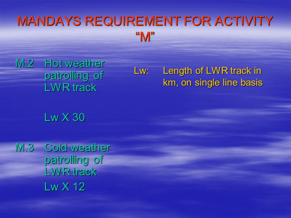 MANDAYS REQUIREMENT FOR ACTIVITY M
