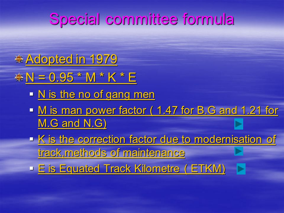 Special committee formula