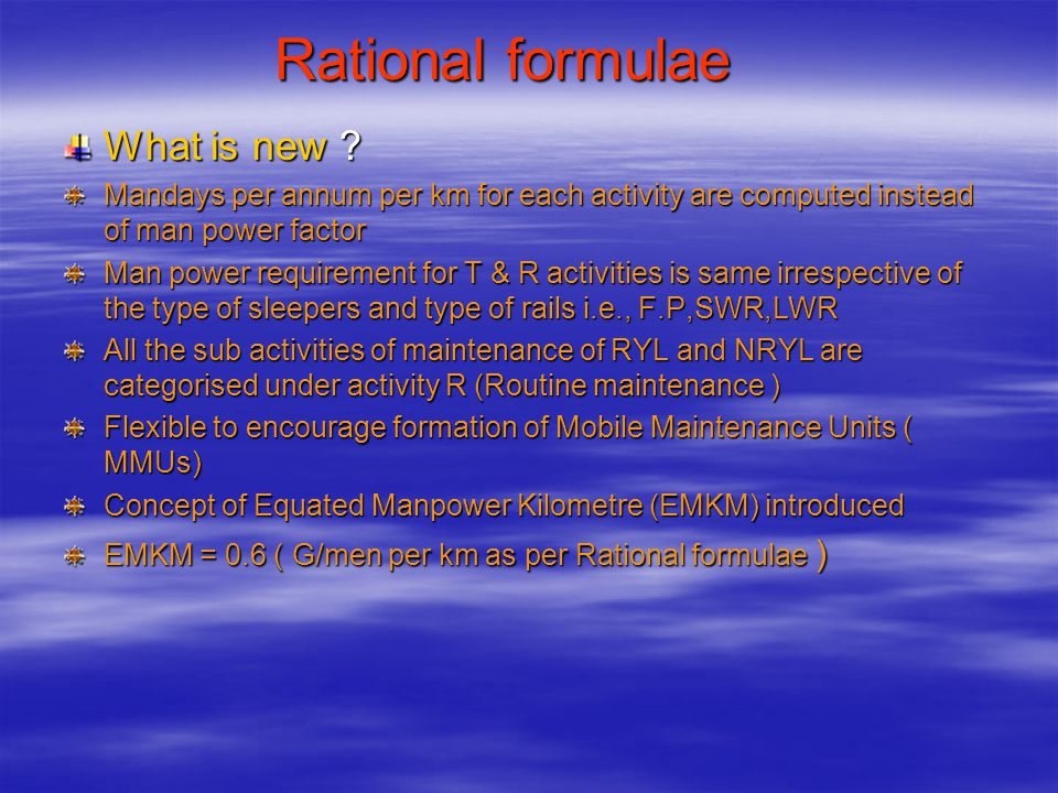 Rational formulae What is new
