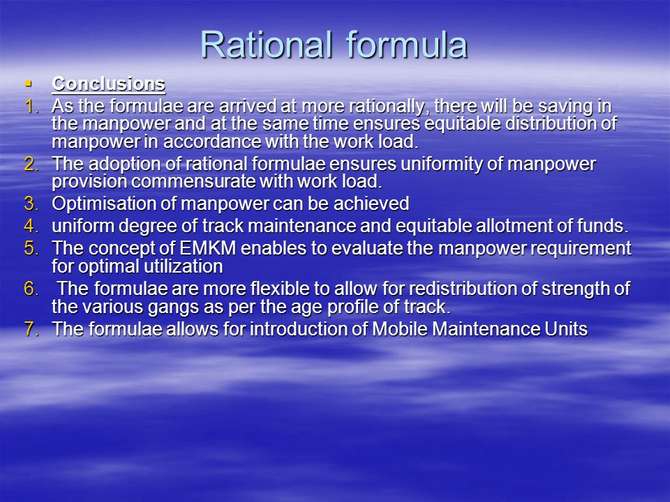 Rational formula Conclusions
