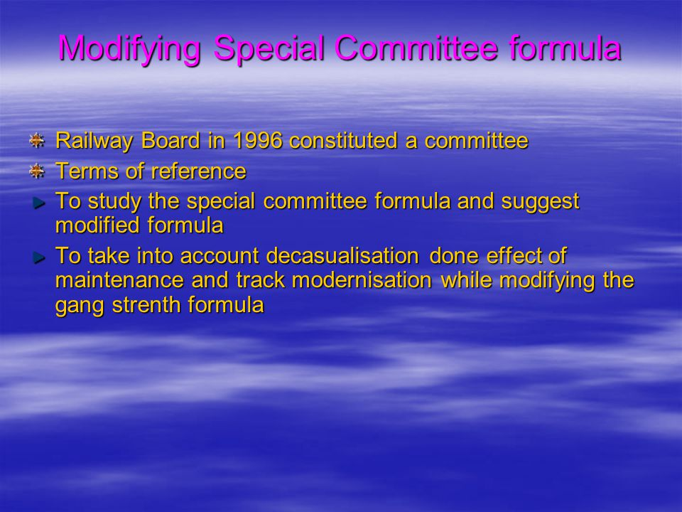 Modifying Special Committee formula