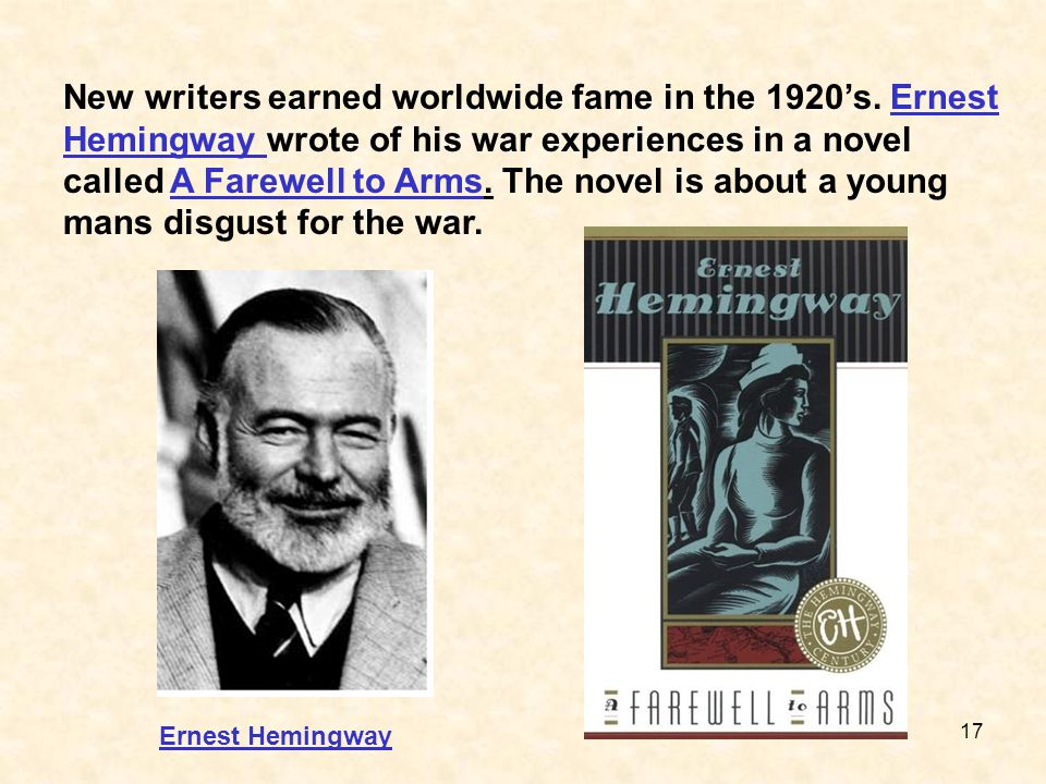 New writers earned worldwide fame in the 1920's