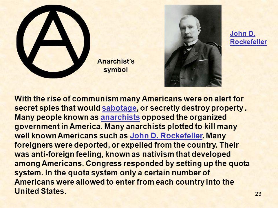 John D. Rockefeller Anarchist's symbol.