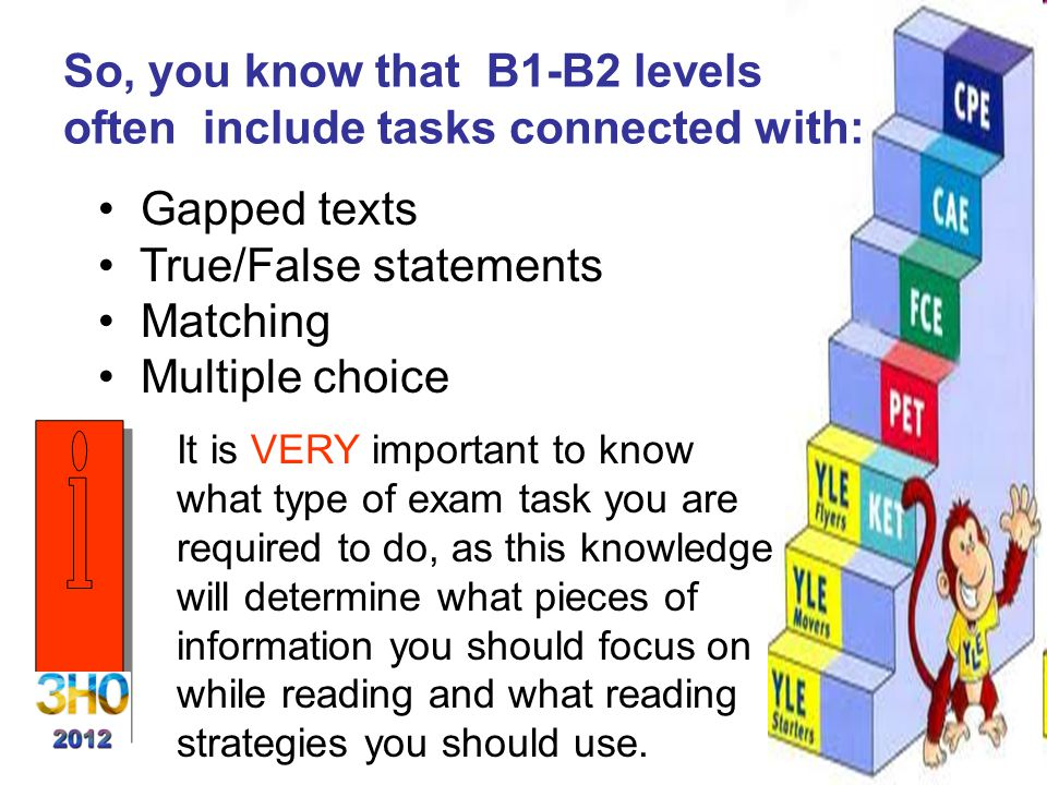 So, you know that B1-B2 levels often include tasks connected with: