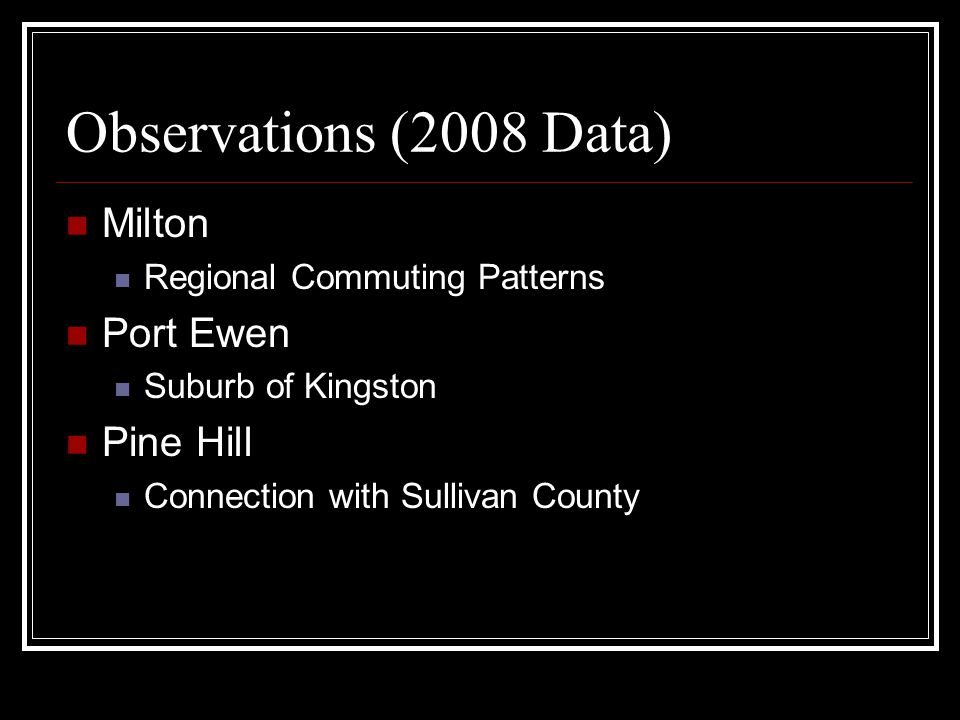 Observations (2008 Data) Milton Port Ewen Pine Hill