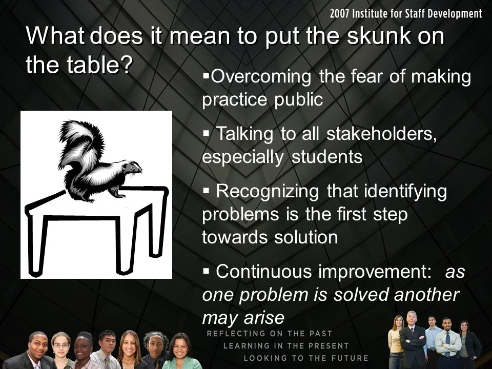 What does it mean to put the skunk on the table