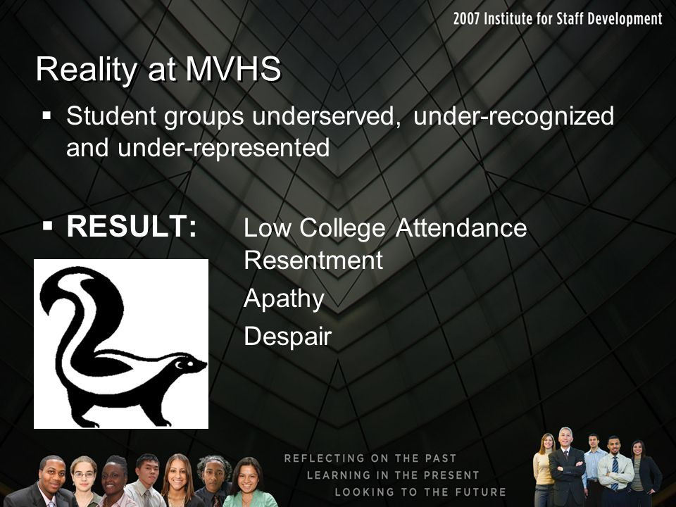 Reality at MVHS RESULT: Low College Attendance Resentment
