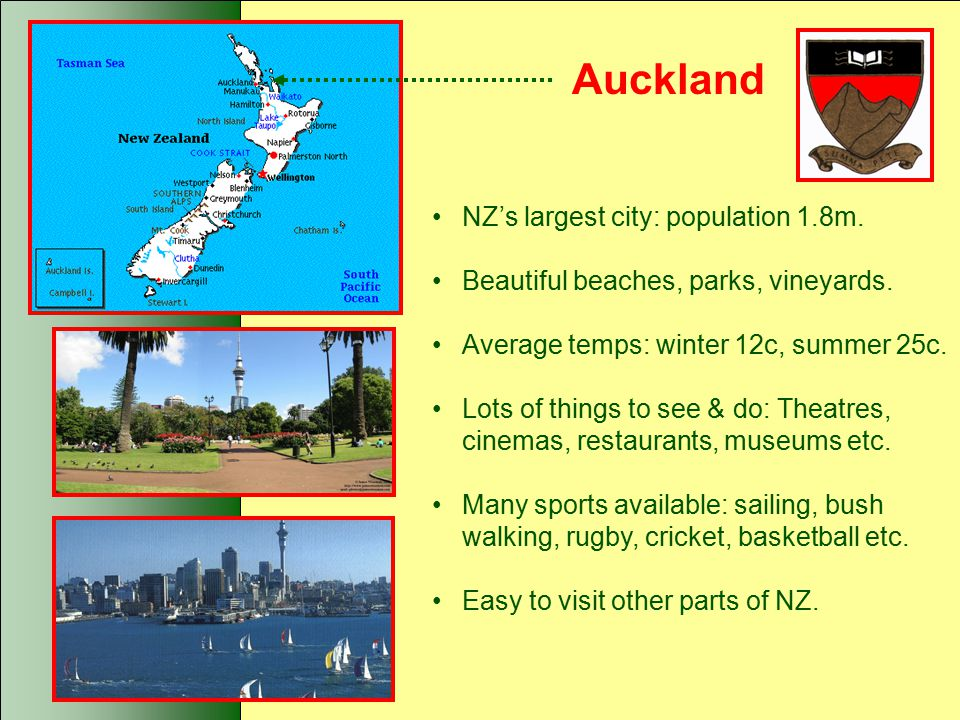 Auckland NZ's largest city: population 1.8m.