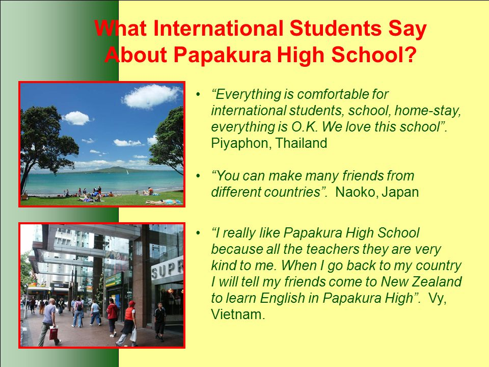 What International Students Say About Papakura High School