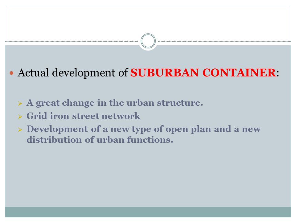 Actual development of SUBURBAN CONTAINER: