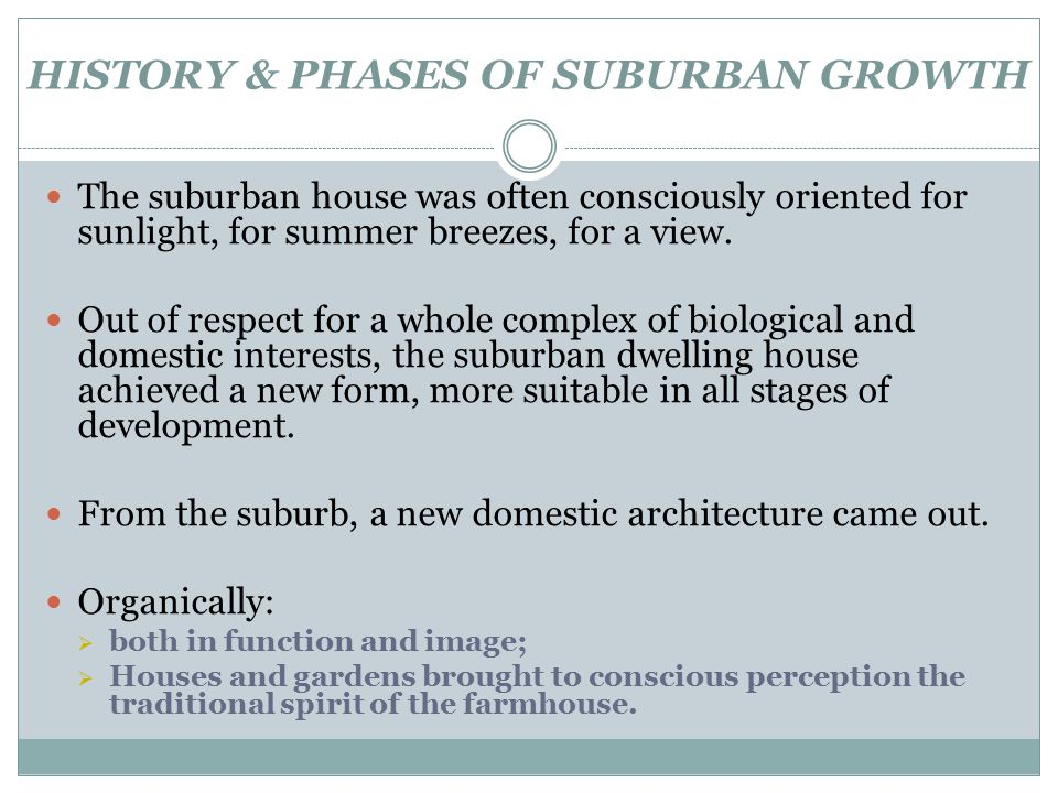 HISTORY & PHASES OF SUBURBAN GROWTH