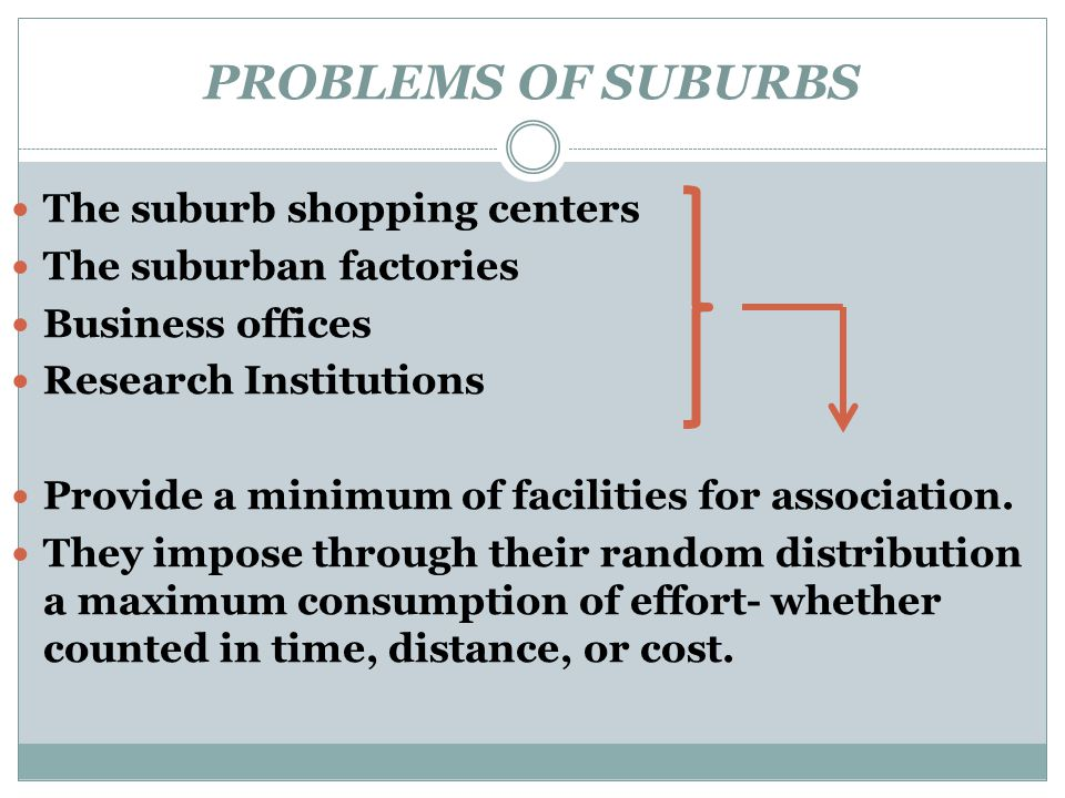 PROBLEMS OF SUBURBS The suburb shopping centers The suburban factories