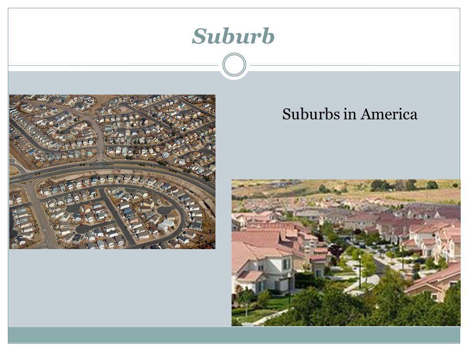 Suburb Suburbs in America