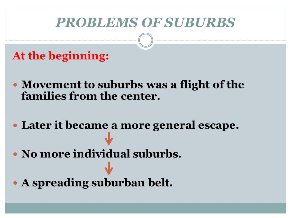 PROBLEMS OF SUBURBS At the beginning: