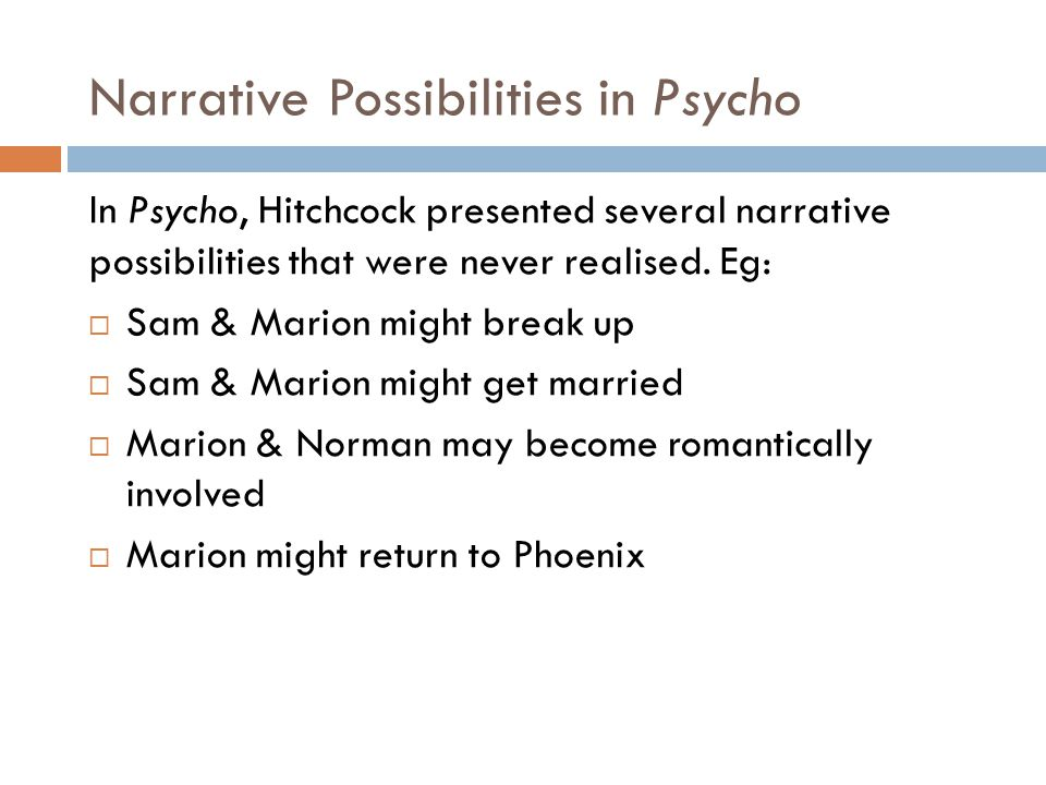 Narrative Possibilities in Psycho
