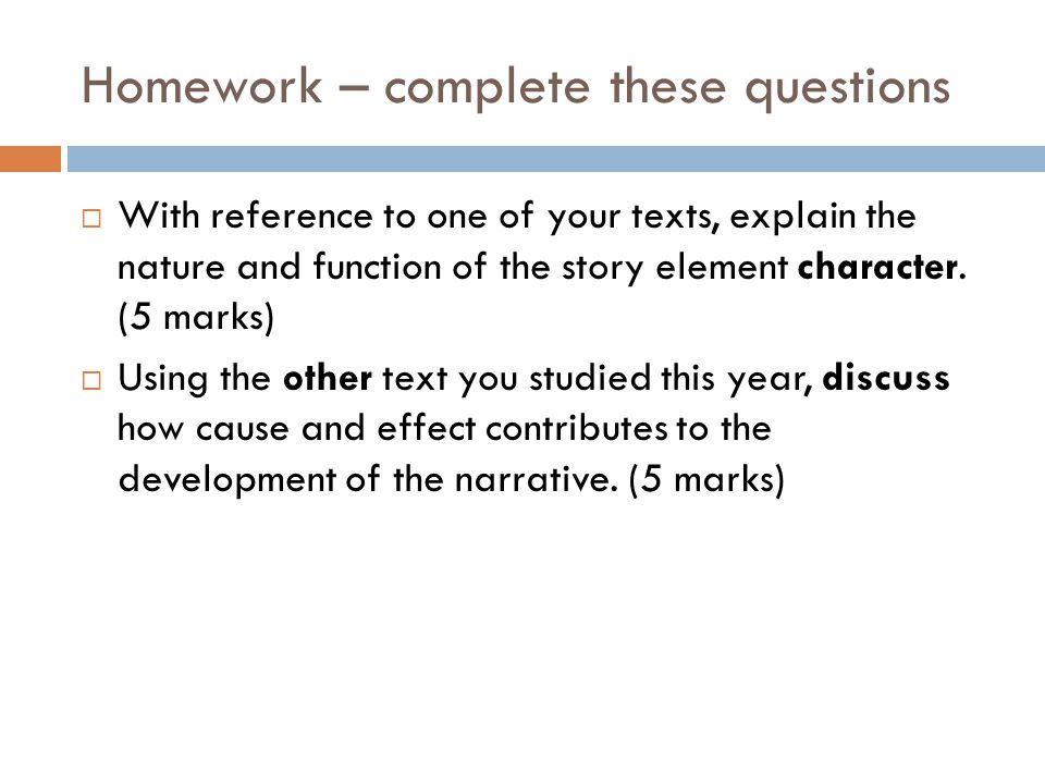 Homework – complete these questions