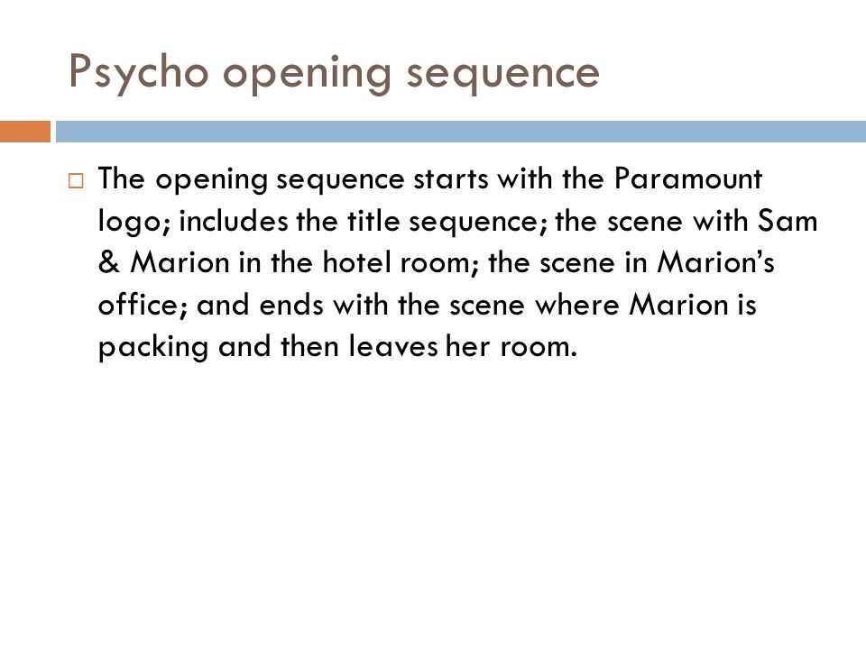 Psycho opening sequence
