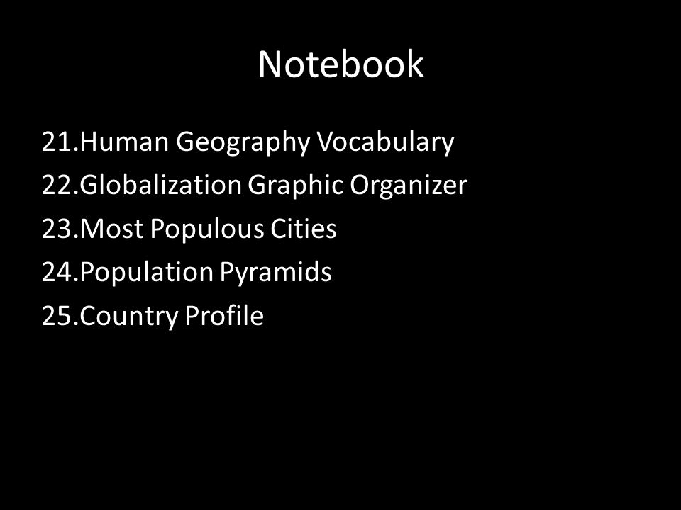 Notebook Human Geography Vocabulary Globalization Graphic Organizer