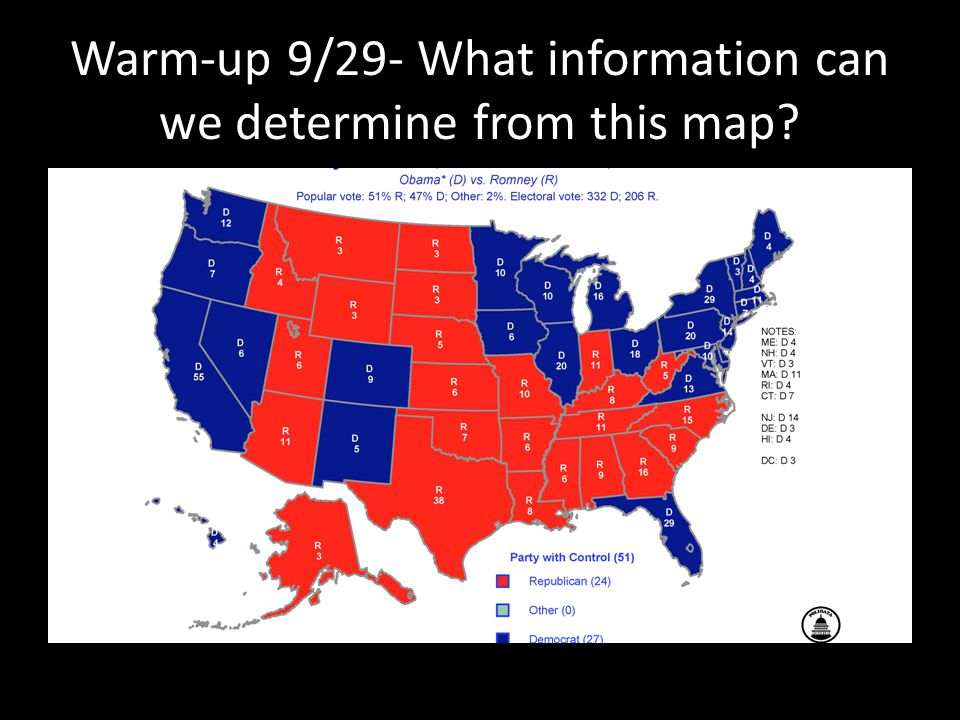 Warm-up 9/29- What information can we determine from this map