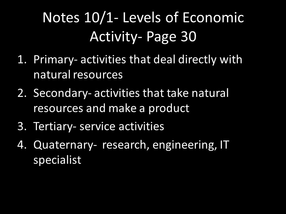 Notes 10/1- Levels of Economic Activity- Page 30