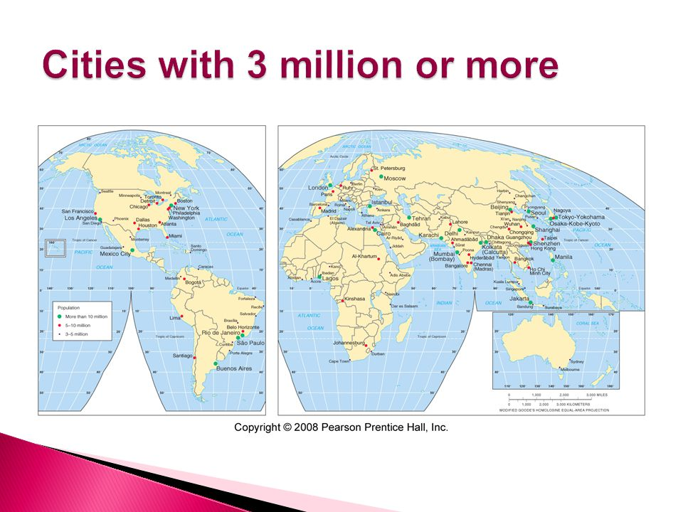 Cities with 3 million or more
