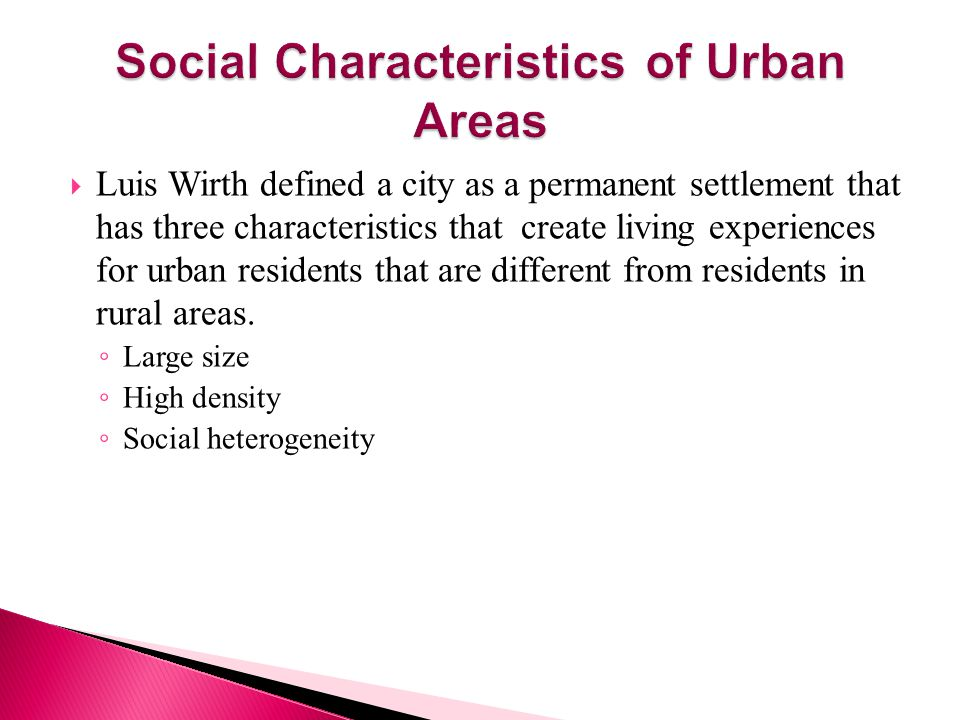 Social Characteristics of Urban Areas