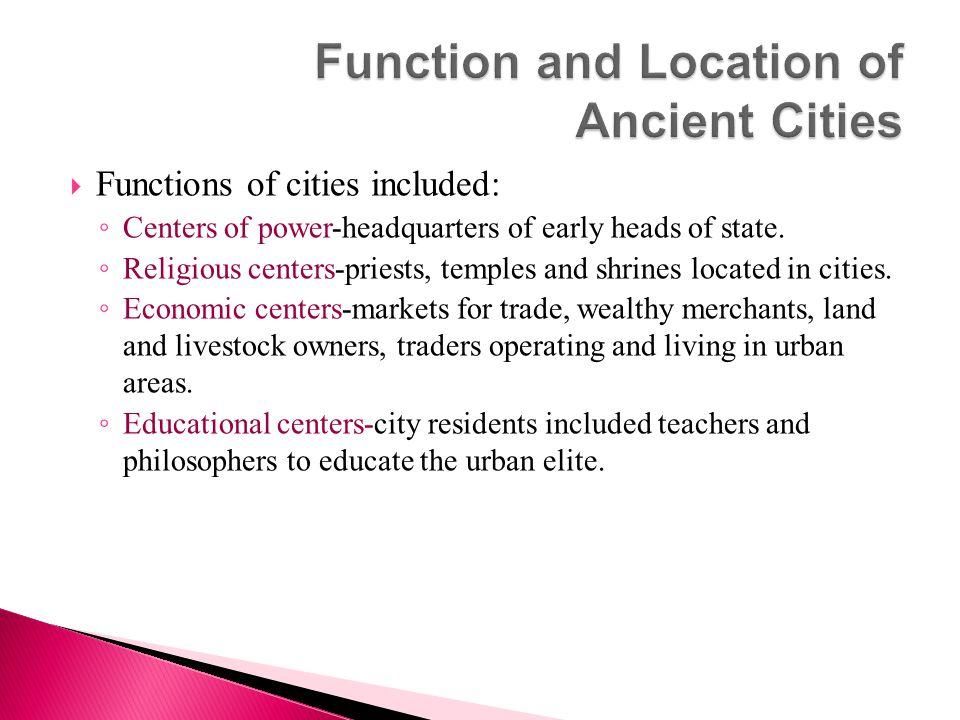 Function and Location of Ancient Cities