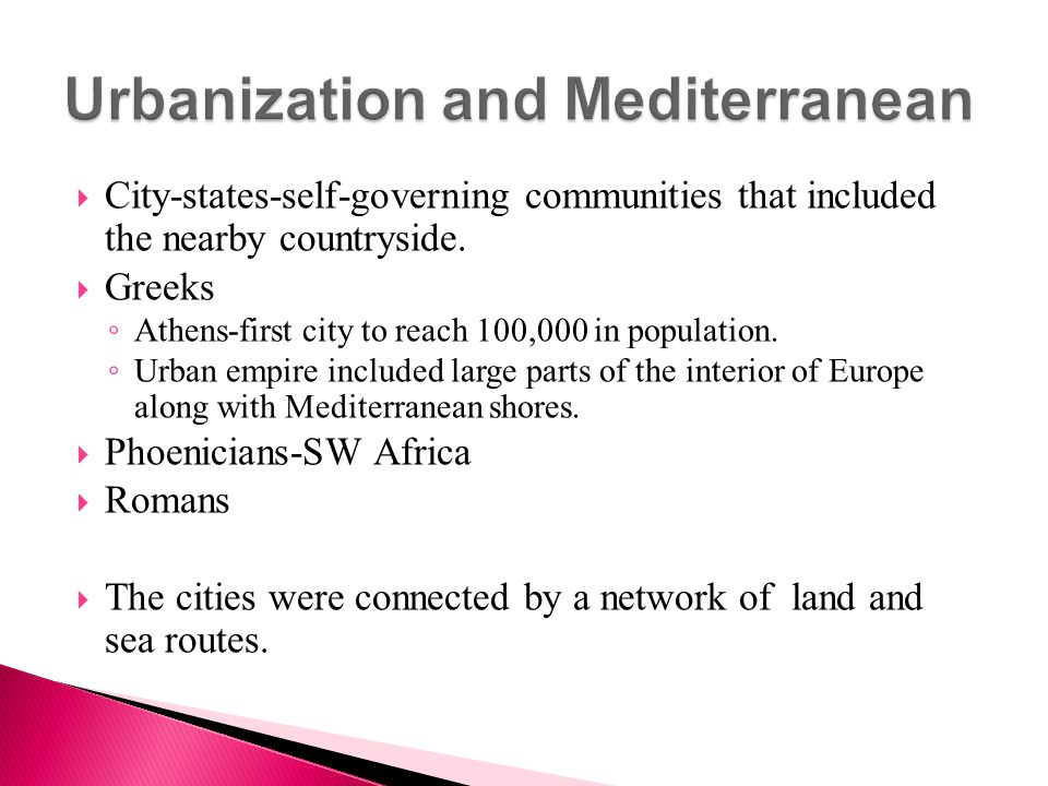 Urbanization and Mediterranean