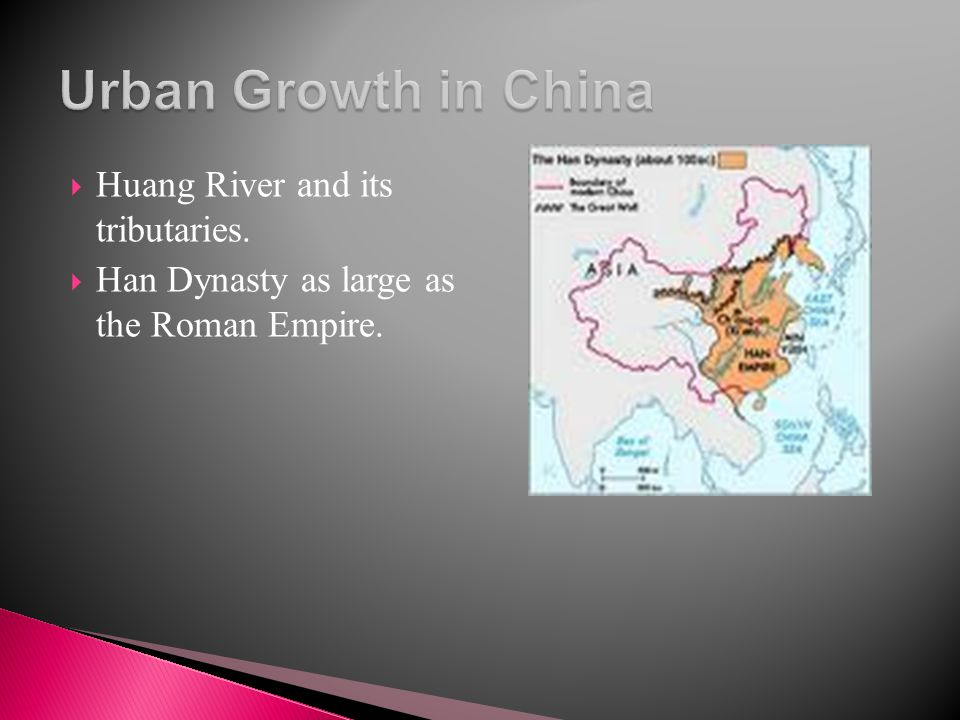Urban Growth in China Huang River and its tributaries.