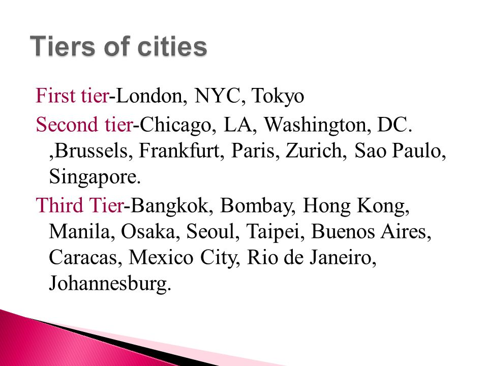 Tiers of cities