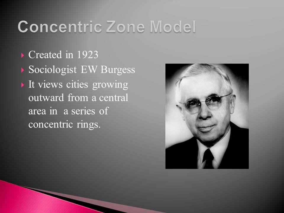 Concentric Zone Model Created in 1923 Sociologist EW Burgess