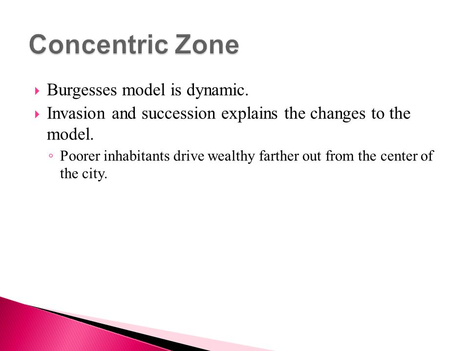Concentric Zone Burgesses model is dynamic.