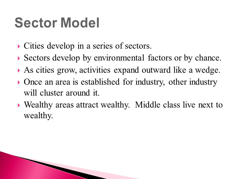 Sector Model Cities develop in a series of sectors.
